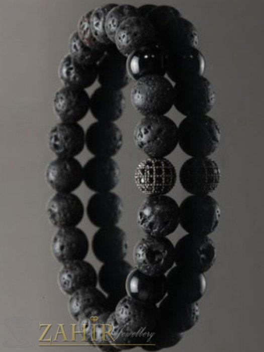 Дамски бижута - 2 модела кристално топче 8 мм на гривна от черни лава камъни и оникс мат, 7 размера - MGA1472