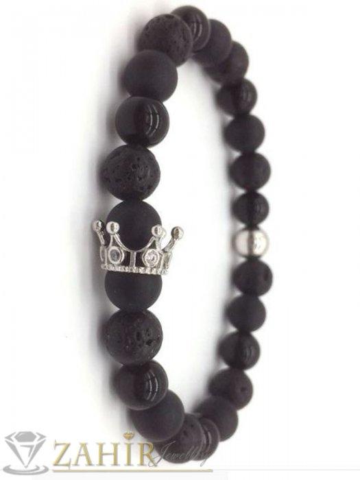 Дамски бижута - Черна гривна от оникс, ахат и лава 10 мм с 4 цвята корони с кристали, 7 размера - MGA1476
