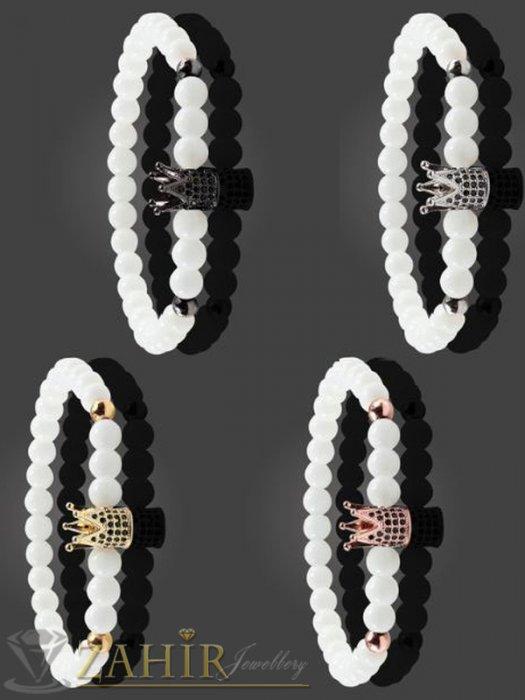 Дамски бижута - Бяла гривна от ахат 8 мм с корони с кристали в 4 цвята, 7 размера - MGA1478