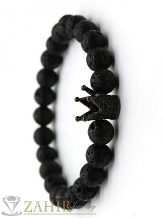 Дамски бижута - Черна гривна от лава камъни 8 мм с корони с кристали в 4 цвята, 7 размера - MGA1479