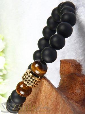 Кристален детайл в златисто или черно на ониксова гривна и кафяв ахат, 7 размера - MGA1487