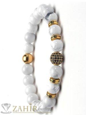 Бяла гривна от хаулит с позлатено топче с черни кристали, 7 размера - MGA1493
