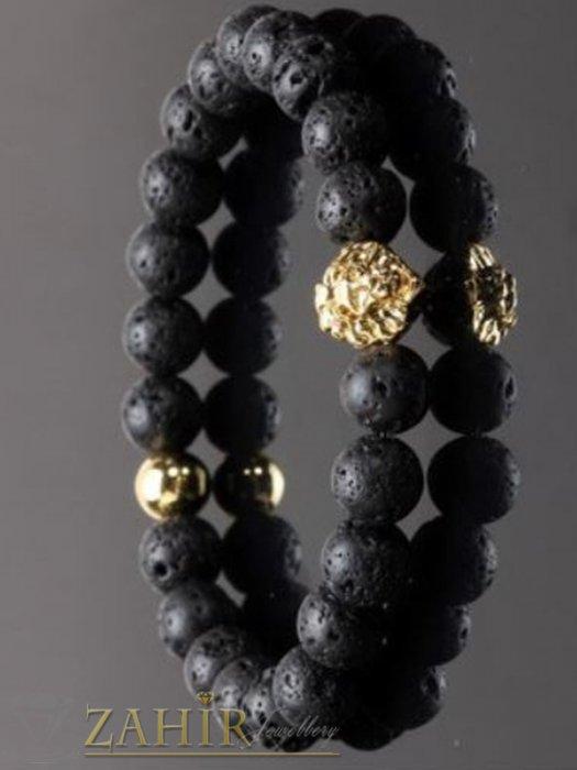 Златиста метална лъвска глава на гривна от черни лава камъни 8 мм, 7 размера - MGA1495