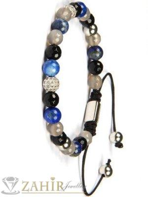 Цветен ахат- син, черен и сив 8 мм и 2 кристални топчета на регулираща се гривна  - MGA1500