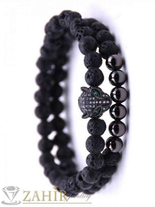 Двойна гривна от черен ахат и лава камъни 8 мм с черна пантера, 7 размера - MGA1503