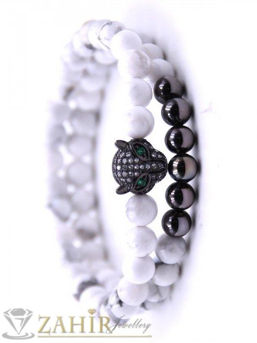Дамски бижута - Двойна гривна от черен ахат и бял хаулит 8 мм с черна пантера, 7 размера - MGA1504
