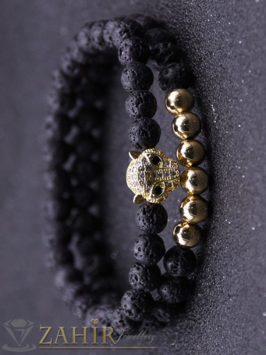 Дамски бижута - Двойна гривна от лава камъни 8 мм с позлатена пантера, 7 размера - MGA1507