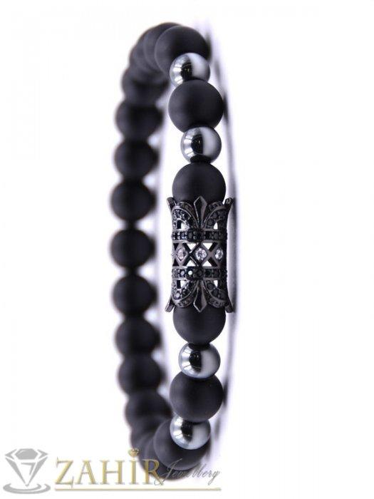 Дамски бижута - Златна, сребърна или черна ониксова гривна 8 мм с гравирани детайли, 7 размера - MGA1509