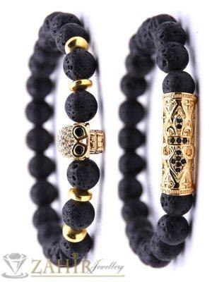Великолепна двойна гривна от черни лава камъни 8 мм с позлатени кристални елементи, 7 размера - MGA1513