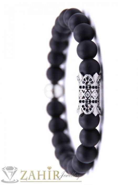 Дамски бижута - 4 цвята гравиран кристален елемент на ониксова гривна 8 мм, 7 размера - MGA1516