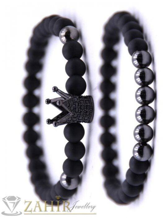 Двойна ониксова гривна 8 мм с черна кристална корона, 7 размера - MGA1517