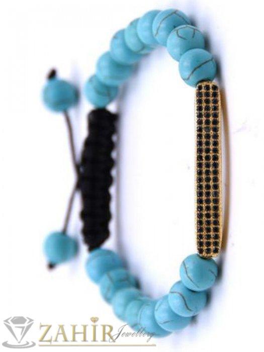 Дамски бижута - 5 цвята регулираща се гривна от ествествени камъни 8 мм и позлатена пластина с черни кристали - MGA1521