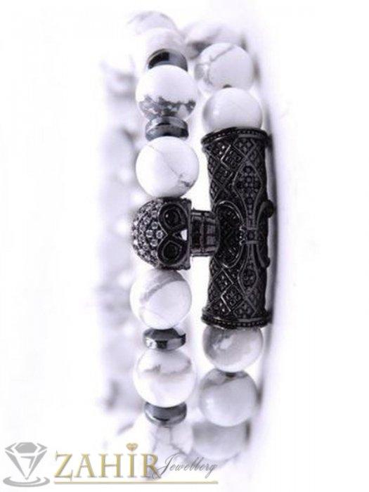 Дамски бижута - 3 модела елементи с микрокристали на бяла гривна от хаулит, 7 размера - MGA1522