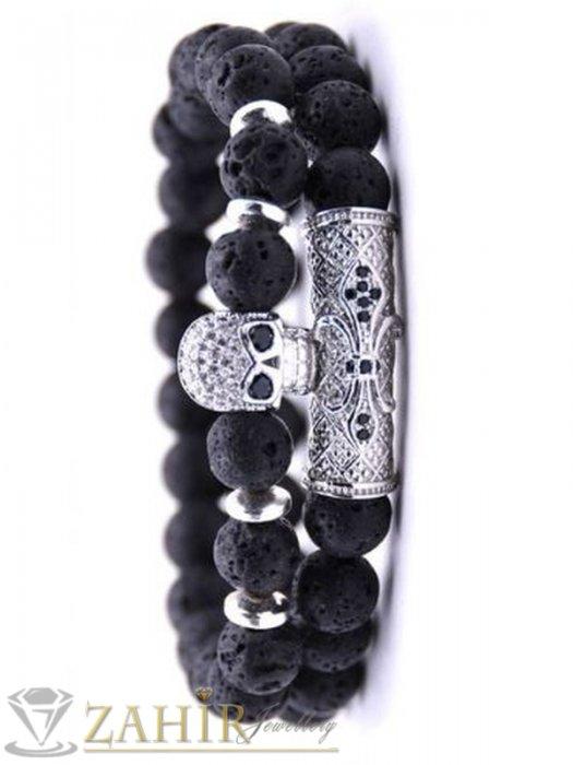 Дамски бижута - 4 модела елементи с микрокристали на черна гривна от лава камъни, 7 размера - MGA1523