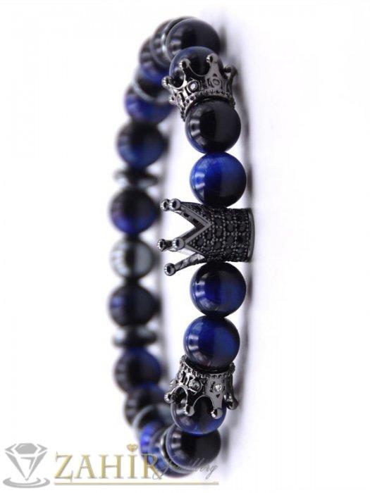 Дамски бижута - 4 цвята кристални корони на синя гривна от ахат 8 мм с черни микроелементи, 7 размера - MGA1525