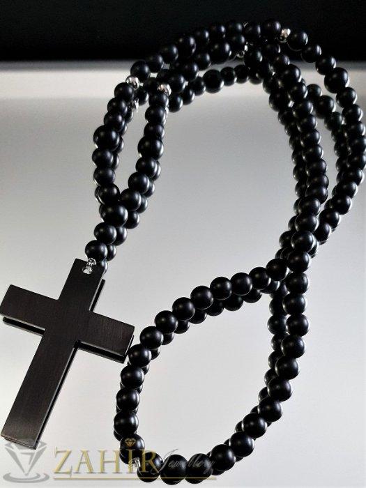 Нов дизайн ониксова броеница 3 размера с висулка 10 см, стоманен кръст 7 см - MK1295