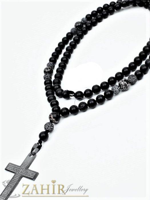 Бижута за мъже - Изчистена черна ониксова броеница 70 см с висулка черен стоманен кръст 5 см - MK1329
