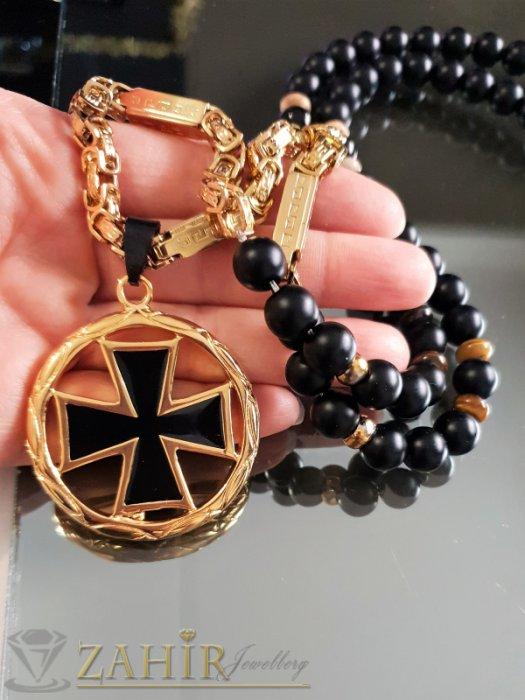 Златно черен кръст 4,5 см на стоманен ланец с плочки, съчетано с ониксово колие 10 мм, 3 размера - MK1343