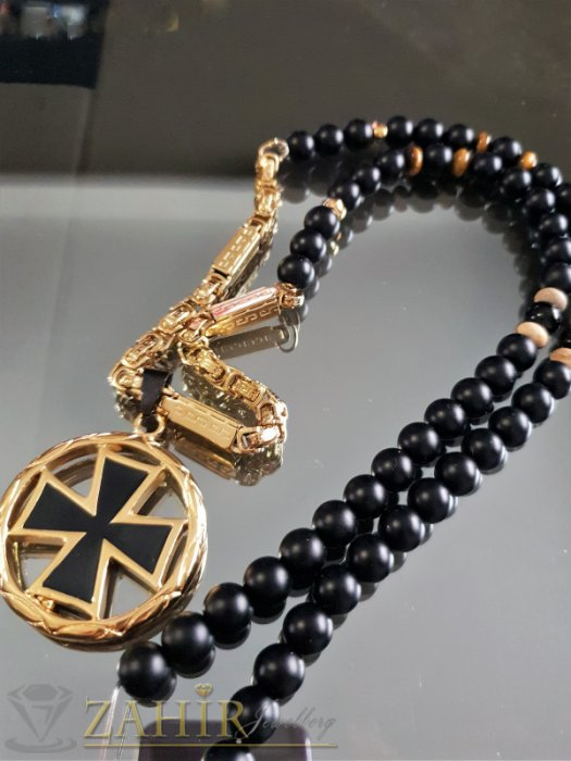 Бижута за мъже - Златно черен кръст 4,5 см на стоманен ланец с плочки, съчетано с ониксово колие 10 мм, 3 размера - MK1343
