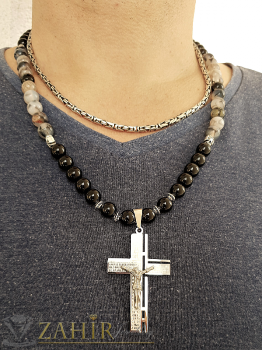 Бижута за мъже - Стоманен кръст с библейски надписи 6 см на колие от черен ахат и драконови вени 8 мм, 3 размера - MK1344