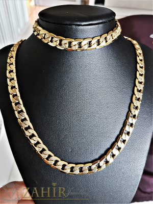 Гравиран стоманен позлатен комплект класическа плекта, ланец 57 см и гривна 22 см, широки 1 см - ML1313