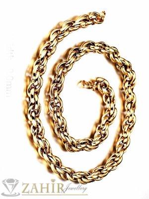 Масивен позлатен мъжки ланец 60 см византийска плетка, основа висококачествена стомана,широк 1 см - ML1316