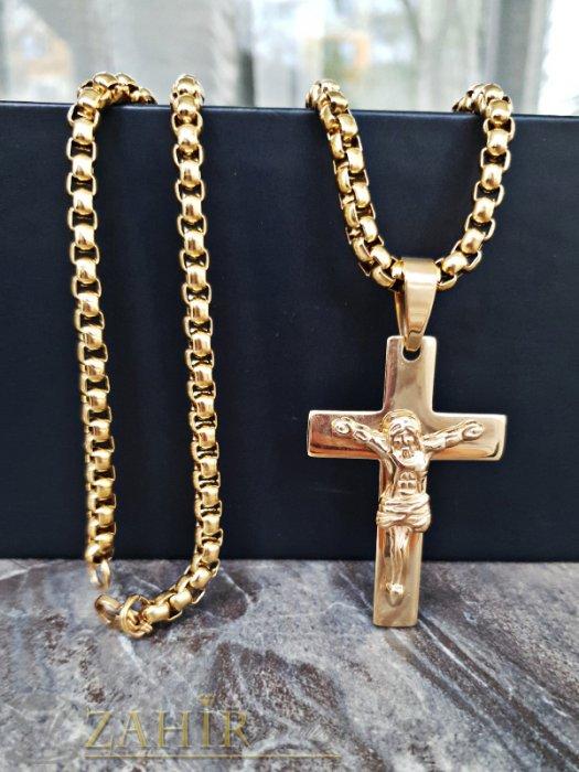 Бижута за мъже - Изящно изработена позлатена стоманена верига 60 см, широка 0,6 см с висулка кръст с Исус 5 см - ML1325