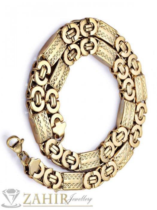 Бижута за мъже - Великолепен стоманен ланец 60 см с гравирани плочки, широк 1,1 см, златно покритие - ML1334