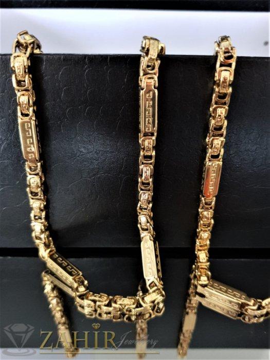 Стилен стоманен комплект едра римска плетка, ланец 59 см, гривна 22 см, широки 0,6 см - ML1359