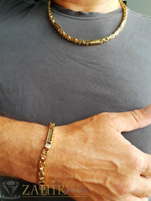 Бижута за мъже - Стилен стоманен комплект едра римска плетка, ланец 59 см, гривна 22 см, широки 0,6 см - ML1359