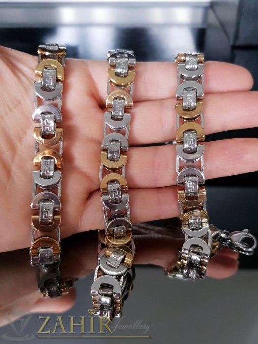 Бижута за мъже - Масивен стоманен комплект с позлатени елементи, ланец 58 см, гривна 23 см, широки 1,2 см - ML1364