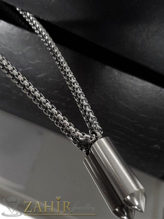 Висококачествен стоманен куршум 4 см на класически стоманен ланец 61 см - ML1368