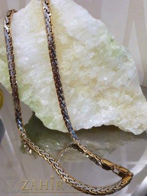 Великолепен позлатен ланец 55 см в два цвята, змийска плетка, широк 0,6 см - ML1389
