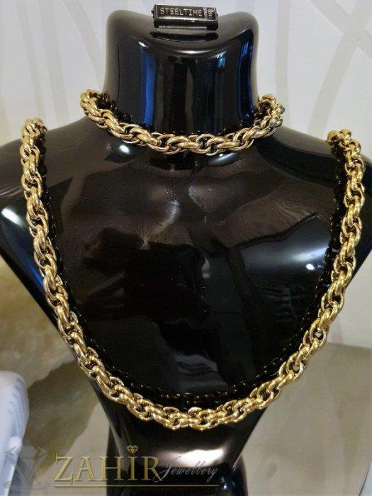 Бижута за мъже - Великолепен позлатен стоманен комплект хит плетка, ланец 60 см и гривна 23 см, широки 0,7 см - ML1390