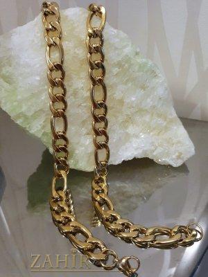 Едър стоманен ланец 60 см, широк 1,1 см, фигаро плетка, златно покритие - ML1393