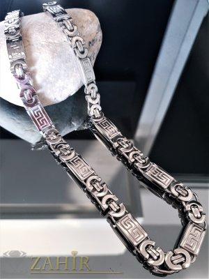 Масивен висококачествен  стоманен ланец 60 см с гравирани плочки, римска плетка, широк 1 см - ML1407