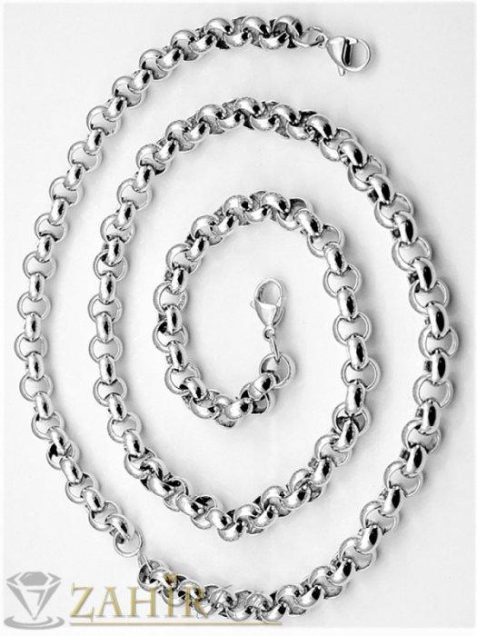 Бижута за мъже - Непроменящ цвета си стоманен комплект, ланец и гривна налични в 3 размера, широки 0,6 см - ML1434