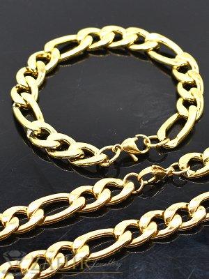 Едър стоманен комплект с фигаро плетка, ланец 60 см и гривна 22 см,широки 1,2 см,златно покритие - ML1436