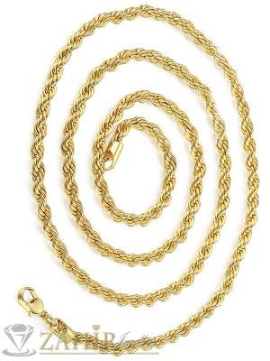 Позлатен стоманен ланец 60 см, широк 0,4 см, стилна плетка - ML1442