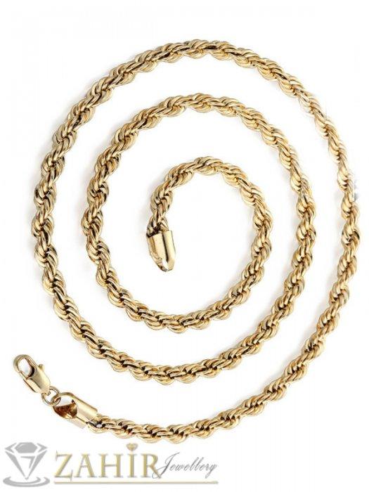 Атрактивен стоманен позлатен ланец 60 см, широк 0,6 см, оригинална плетка - ML1445
