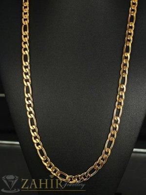 Емблематичен мъжки ланец фигаро плетка 60 см от позлатена стомана, широк 0,4 см - ML1450