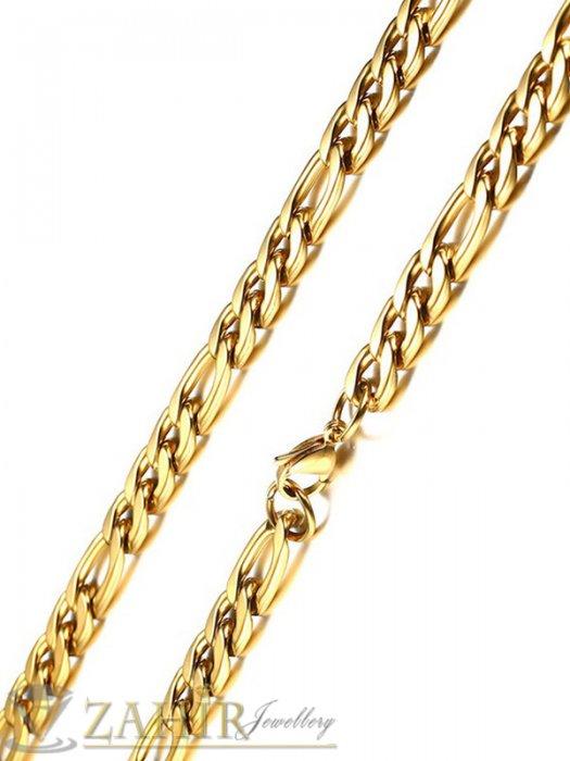 Мъжки бижута - Супер як стоманен ланец фигаро плетка наличен в 4 дължини от със заоблени звена широки 0,7 см, златно покритие - ML1587