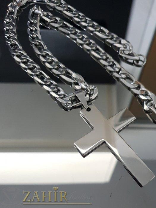 Бижута за мъже - Масивен полиран стоманен кръст 7 см на едър стоманен ланец 56 см, широк 1 см - ML1461