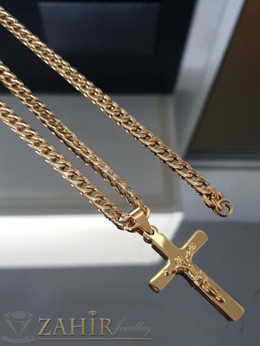 Красив полиран стоманен кръст 4 см на класически стоманен ланец в 3 размера, широк 0,5 см - ML1463