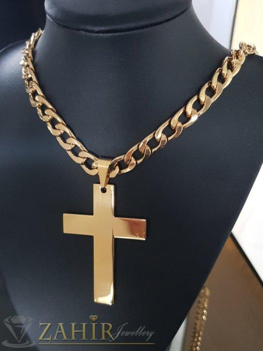 Бижута за мъже - Масивен позлатен стоманен кръст 7 см на едър стоманен ланец 60 см, широк 1 см - ML1464