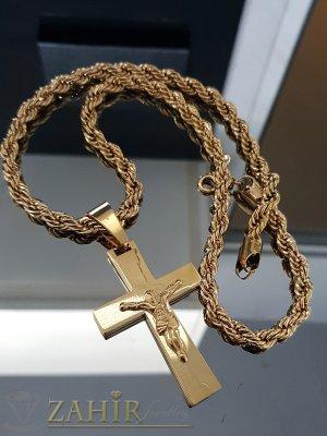 Впечатляващ позлатен стоманен кръст 6,5 см на красив стоманен ланец 60 см, широк 0,7 см - ML1465