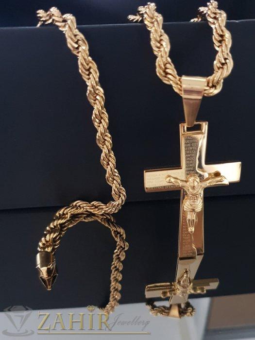 Бижута за мъже - Впечатляващ позлатен стоманен кръст 6,5 см на красив стоманен ланец 60 см, широк 0,7 см - ML1465
