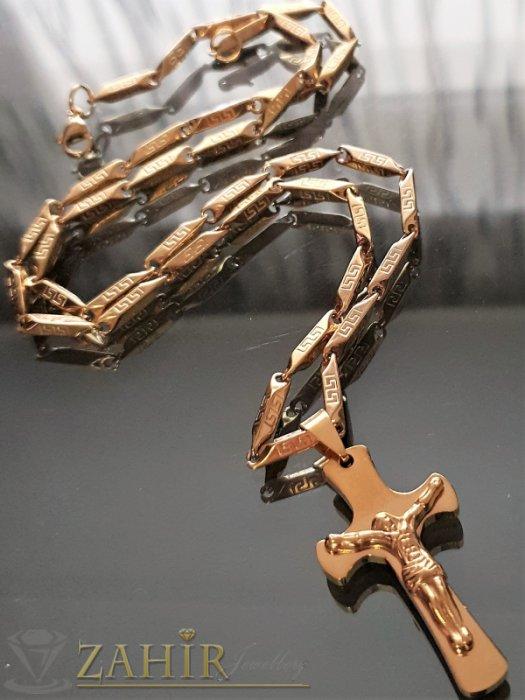Бижута за мъже - Изчистен нежен кръст с разпятие 4 см на гравиран ланец в 3 размера, широк 0,3 см - ML1470