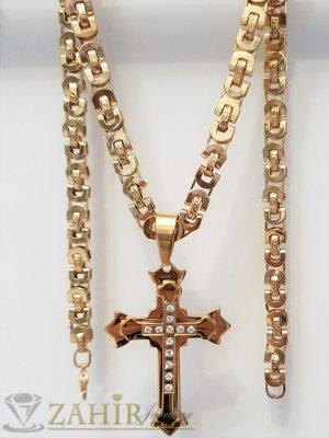 Трипластов стоманен позлатен кръст с кристали 7 см на елегантен римски ланец в 3 размера - ML1472