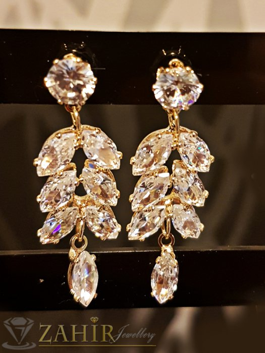 Дамски бижута - Великолепни висящи кристални обеци 4 см, златно покритие, на винт - O2453